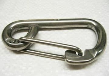 10mm STAINLESS STEEL MARINE FORMED EYE CARBINE HOOK with SAFETY CATCH rope boat